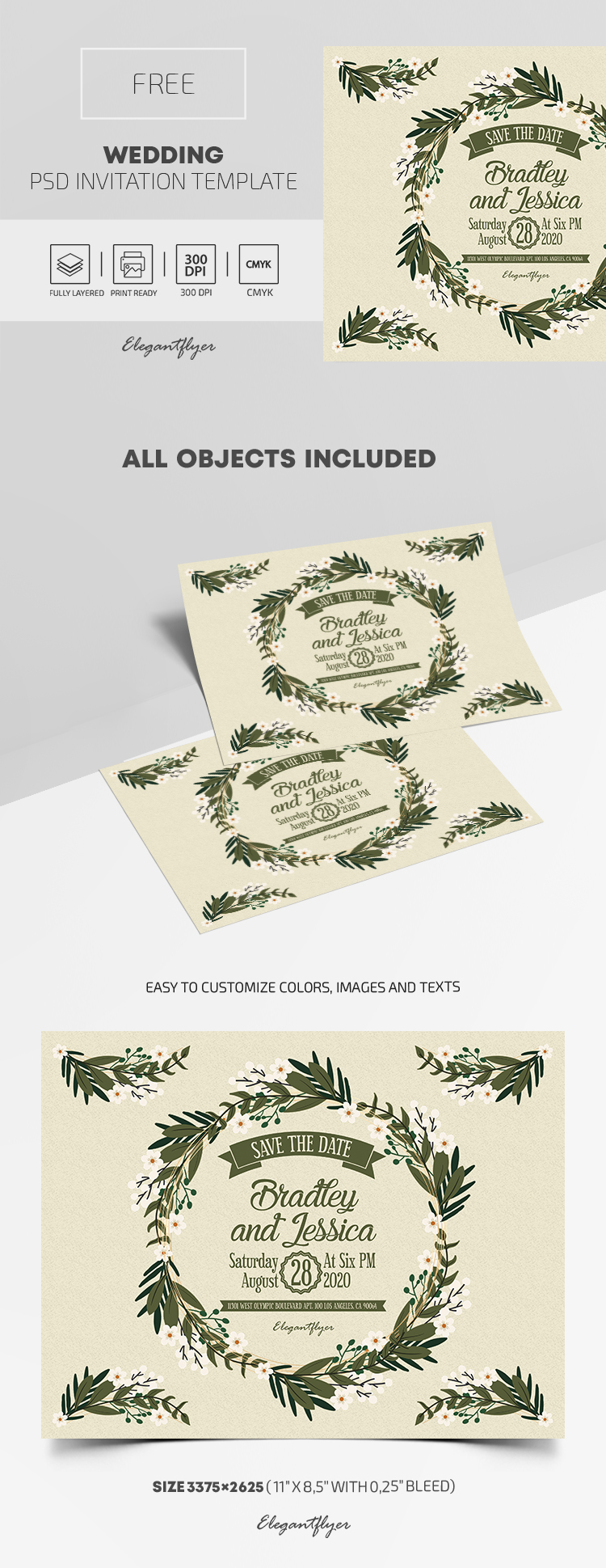 Free Psd Wedding Invitation Template By Elegantflyer