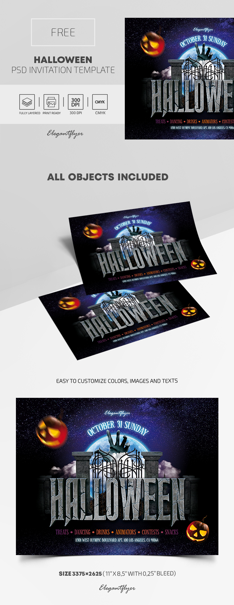 Free Halloween Invitation Template in PSD