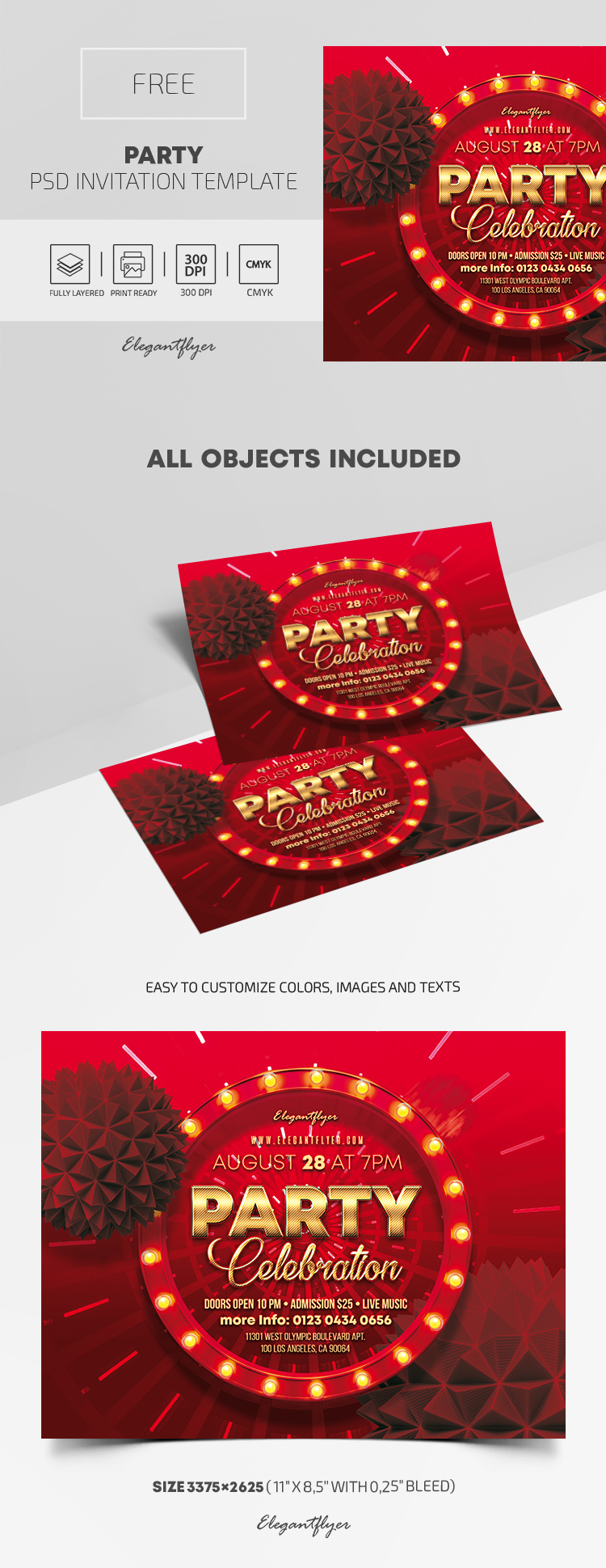Free Party Invitation Template in PSD