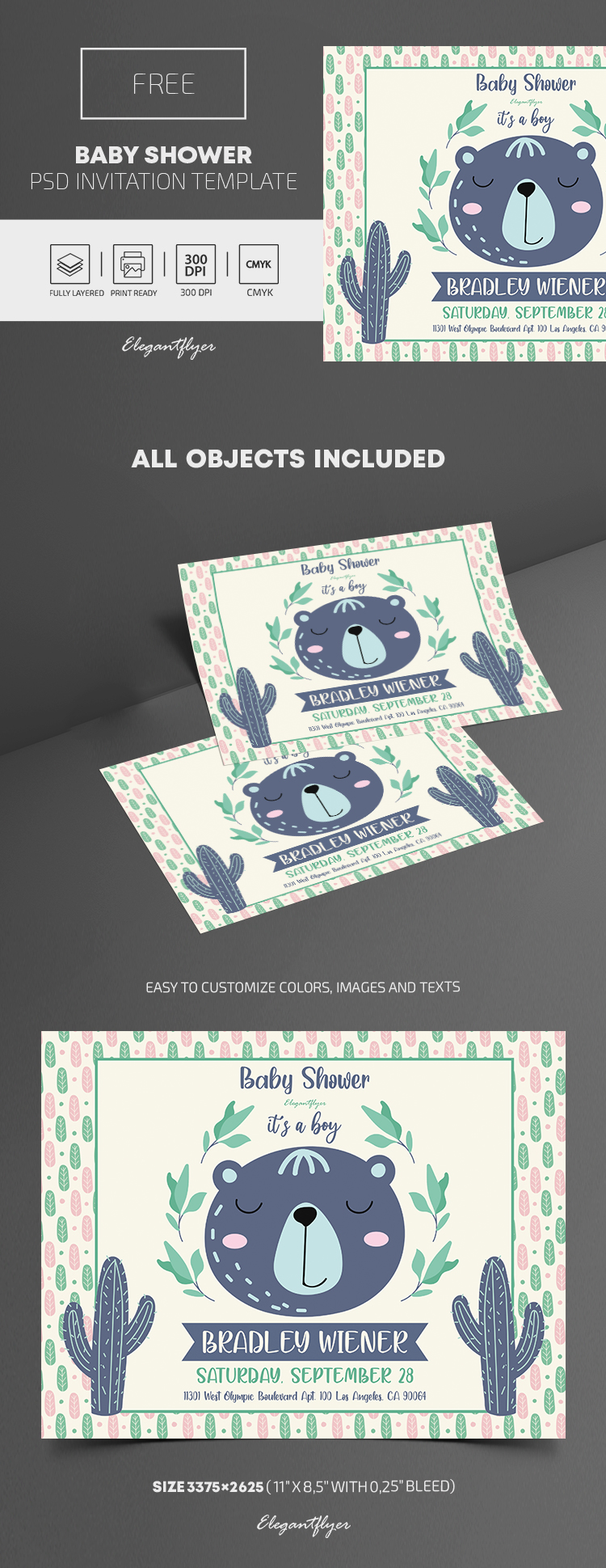 Free Baby Shower Invitation Template in PSD