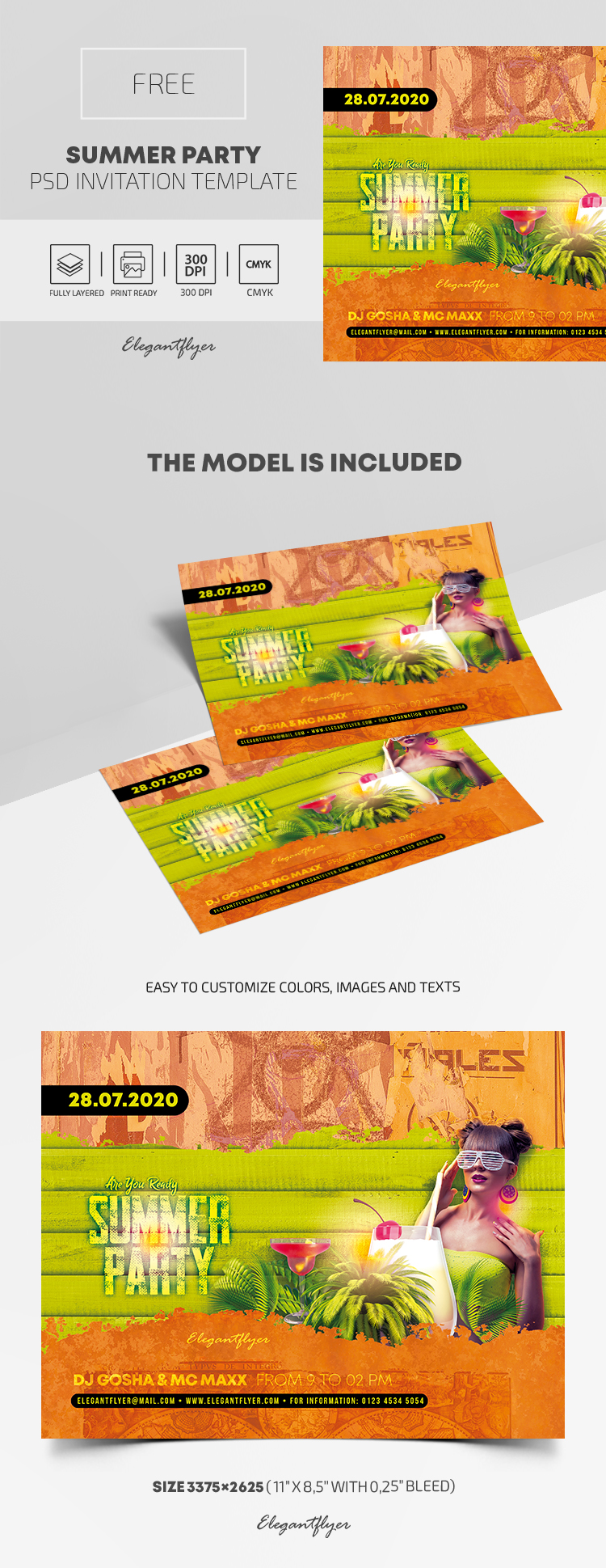 Free Summer Party Invitation PSD Template