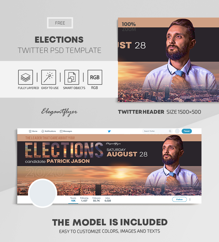 Elections – Free Twitter Header PSD Template