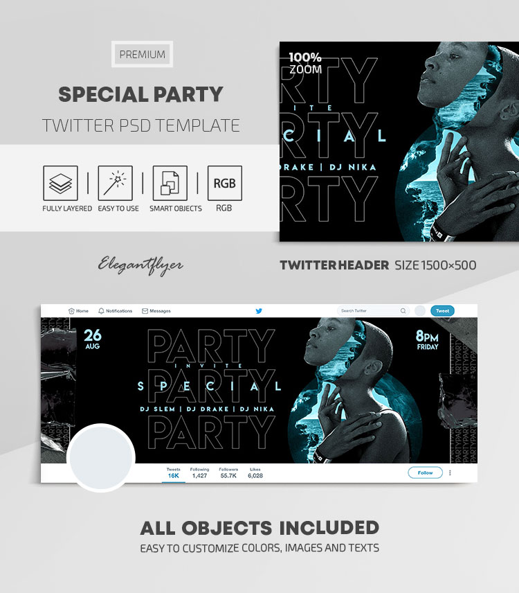 Special Party – Twitter Header PSD Template