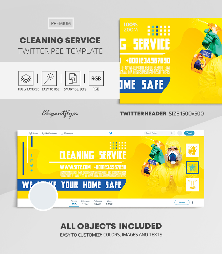 Cleaning Service – Twitter Header PSD Template