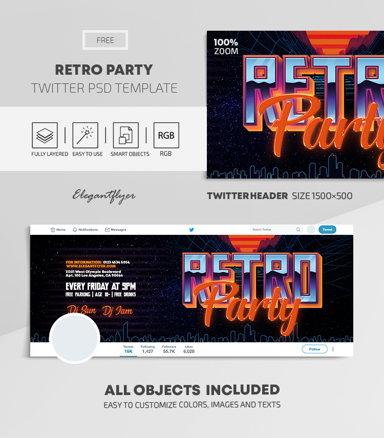 Retro Party – Free Twitter Header PSD Template