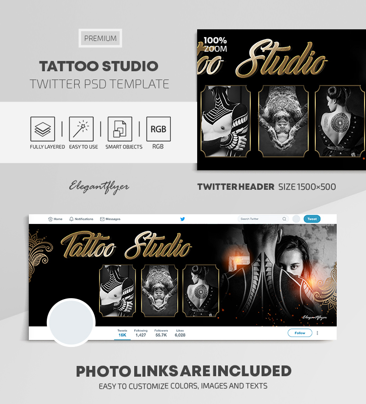 Tattoo Studio – Twitter Header PSD Template