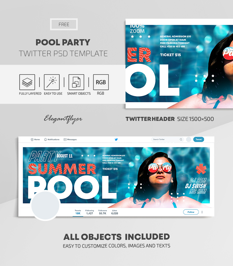 Pool Party – Free Twitter Header PSD Template