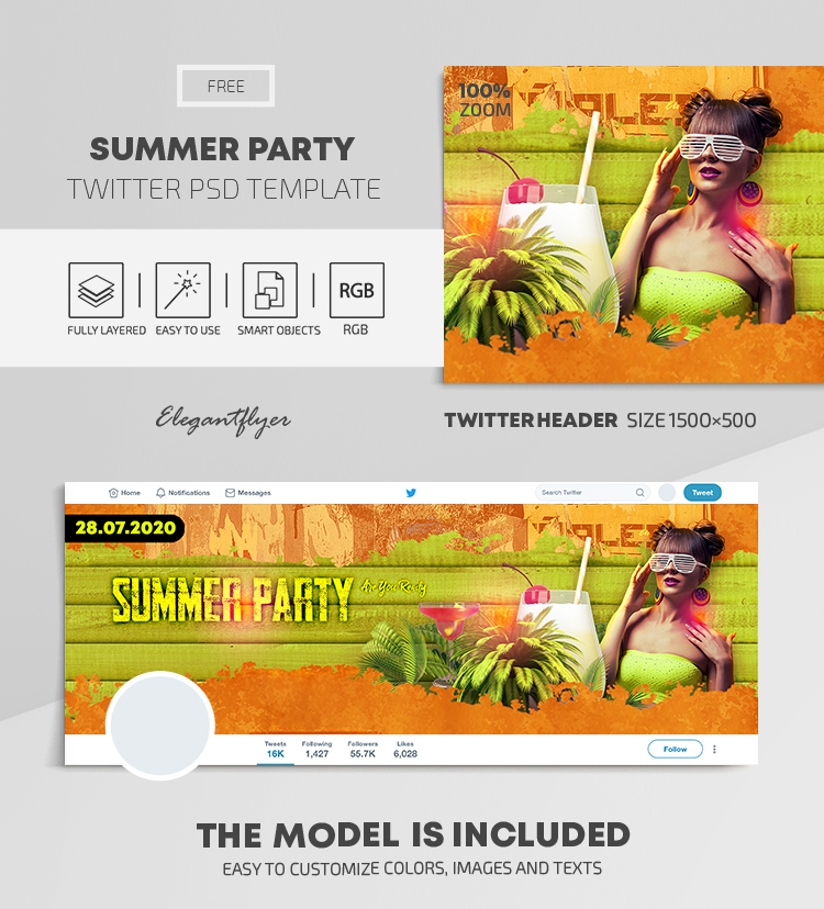Summer Party – Free Twitter Header PSD Template