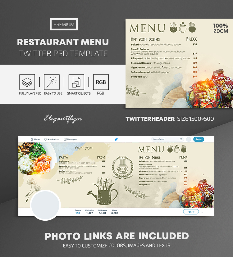 Restaurant Menu – Twitter Header PSD Template