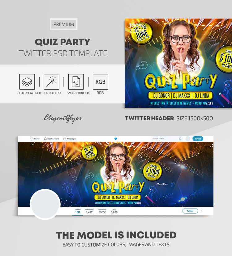 Quiz Party – Twitter Header PSD Template
