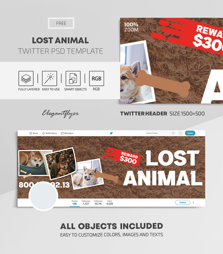 Lost Animal – Free Twitter Header PSD Template