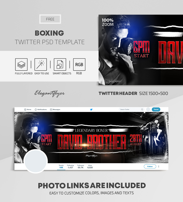 Boxing – Free Twitter Header PSD Template