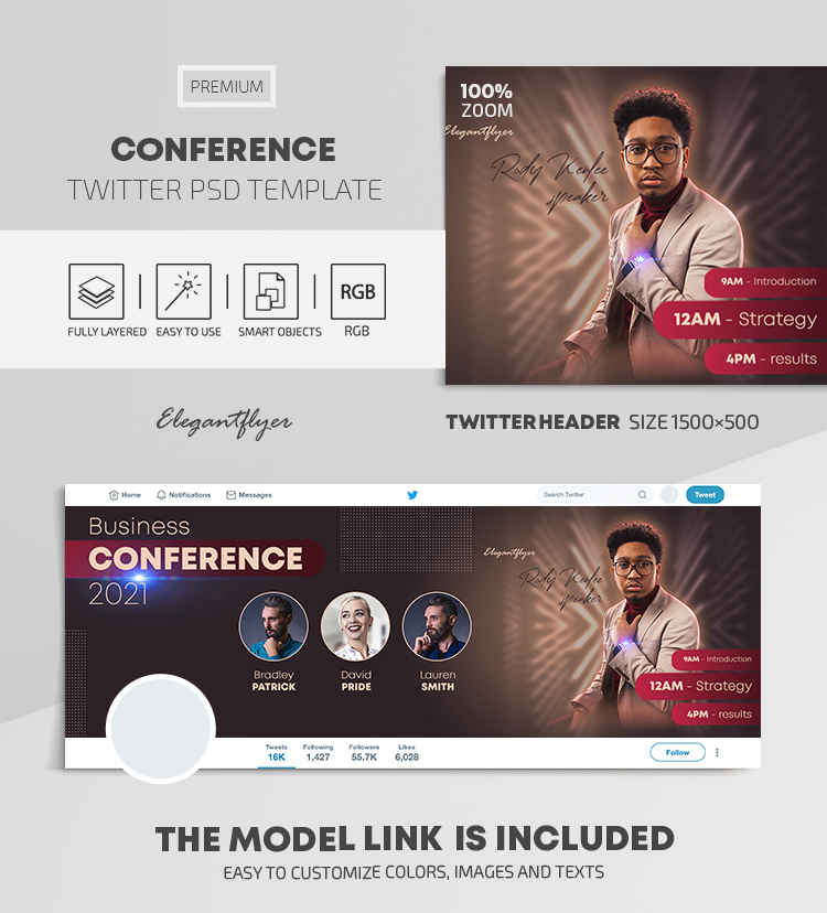 Conference – Twitter Header PSD Template