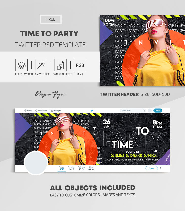 Time to Party – Free Twitter Header PSD Template