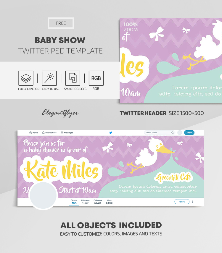 Baby Show – Free Twitter Header PSD Template