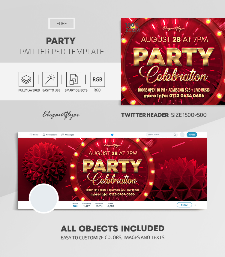 Party – Free Twitter Header PSD Template