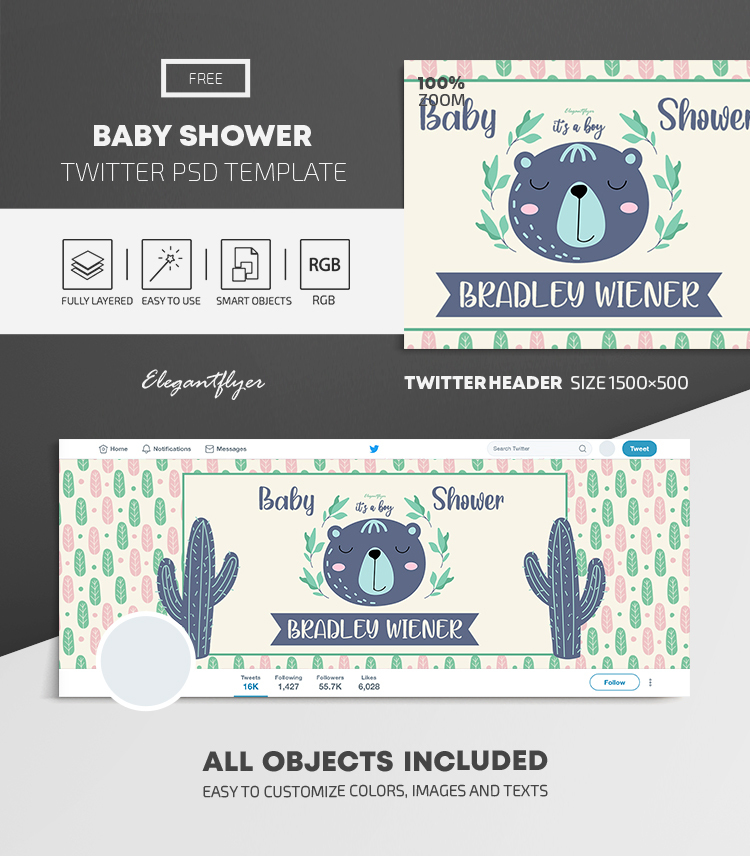 Baby Shower – Free Twitter Header PSD Template