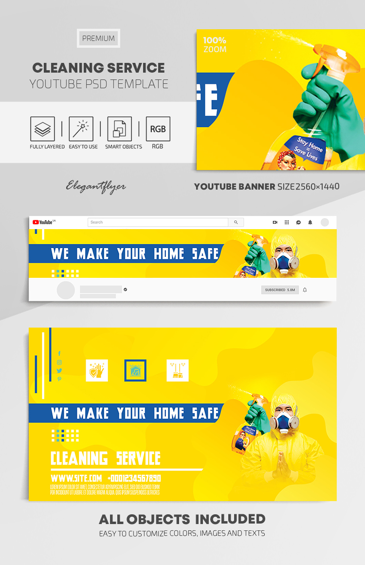 Cleaning Service – Youtube Channel banner PSD Template