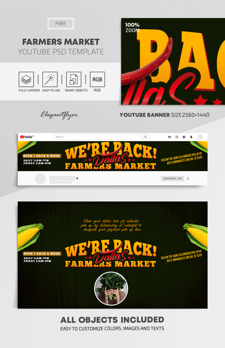 Farmers Market – Free Youtube Channel banner PSD Template