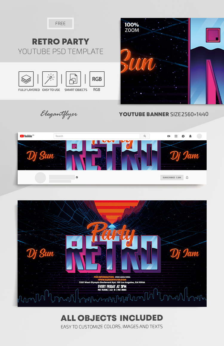 Retro Party – Free Youtube Channel banner PSD Template