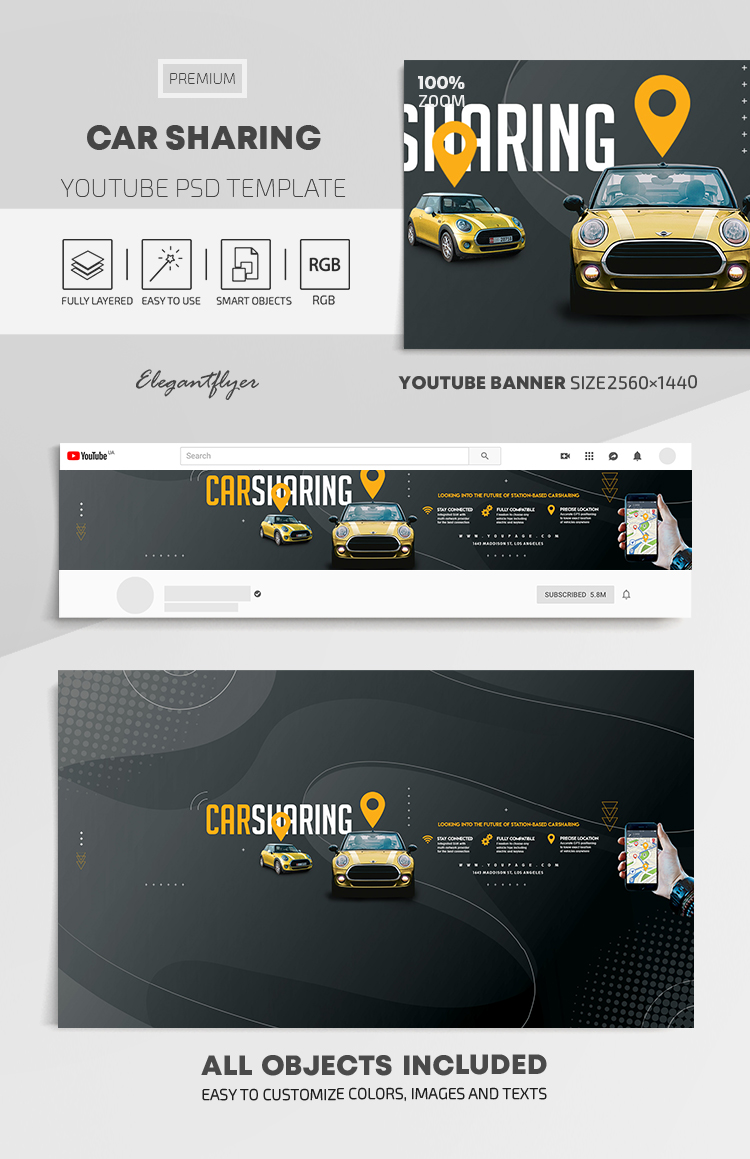 Car Sharing – Youtube Channel banner PSD Template