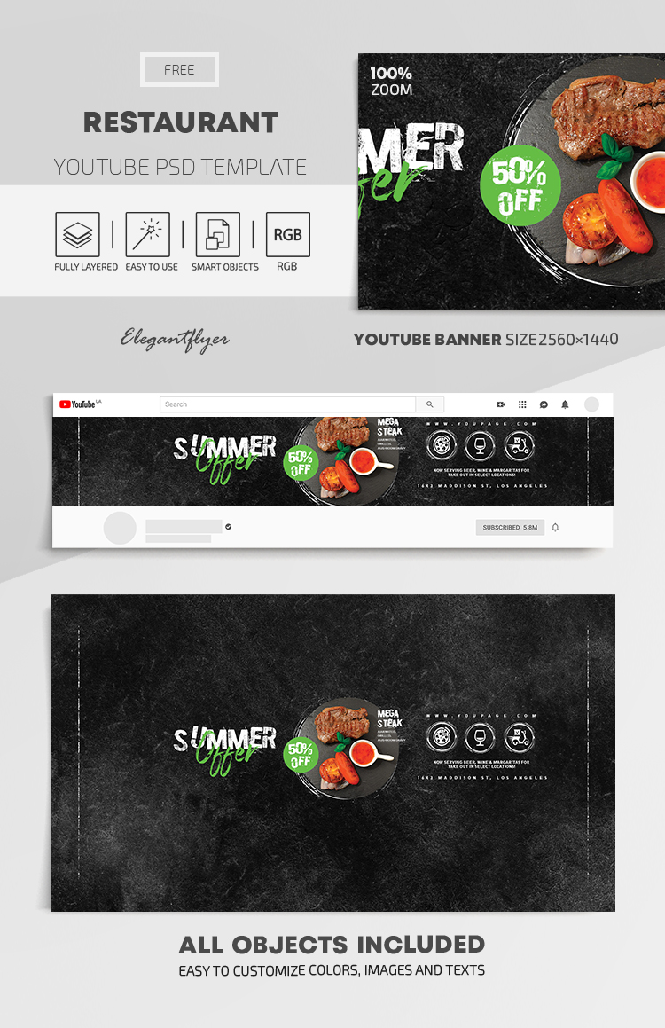 Restaurant – Free Youtube Channel banner PSD Template