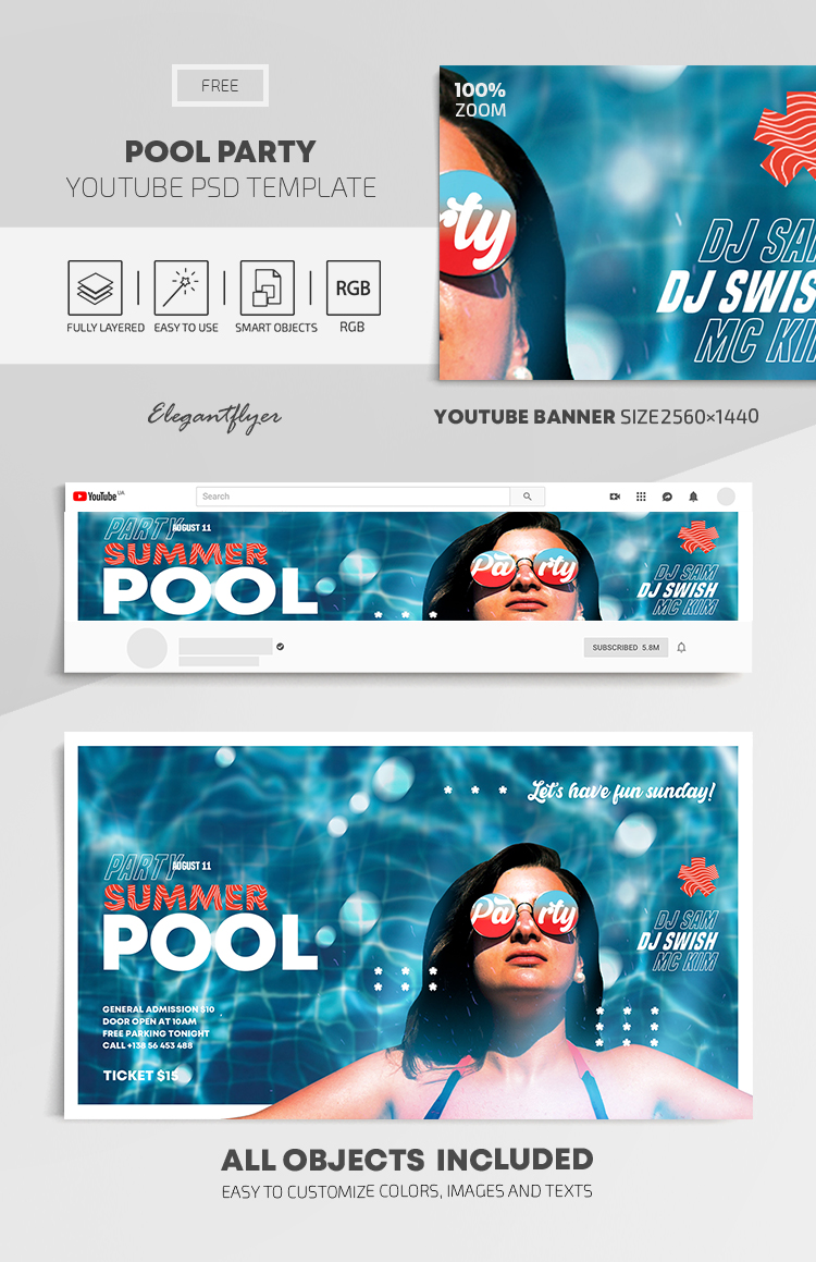 Pool Party – Free Youtube Channel banner PSD Template
