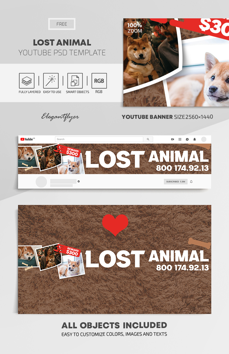 Lost Animal – Free Youtube Channel banner PSD Template