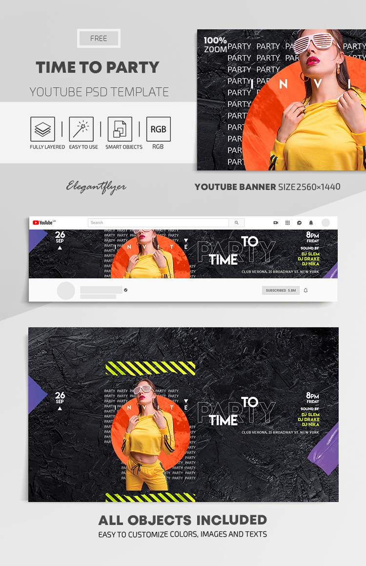 Time to Party – Free Youtube Channel banner PSD Template