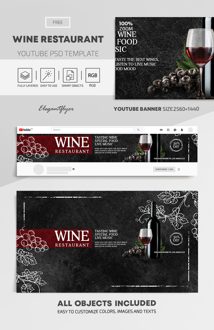 Wine Restaurant – Free Youtube Channel banner PSD Template