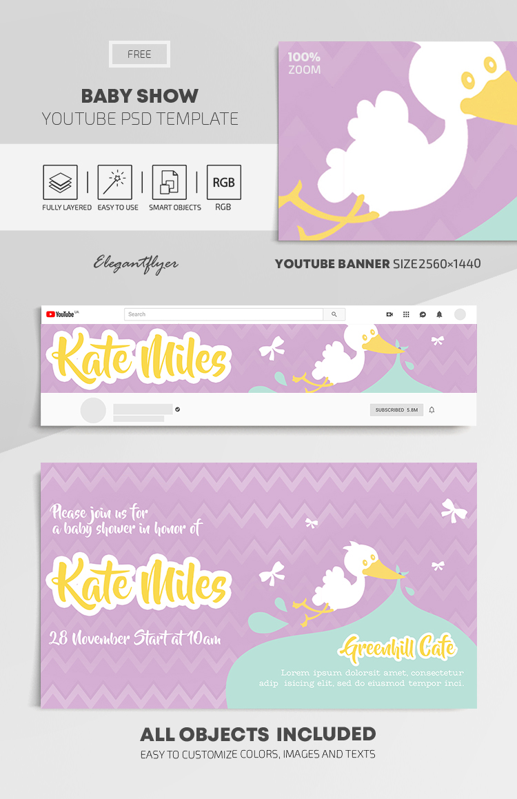 Baby Show – Free Youtube Channel banner PSD Template
