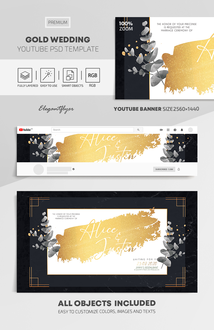 Gold Wedding – Youtube Channel banner PSD Template