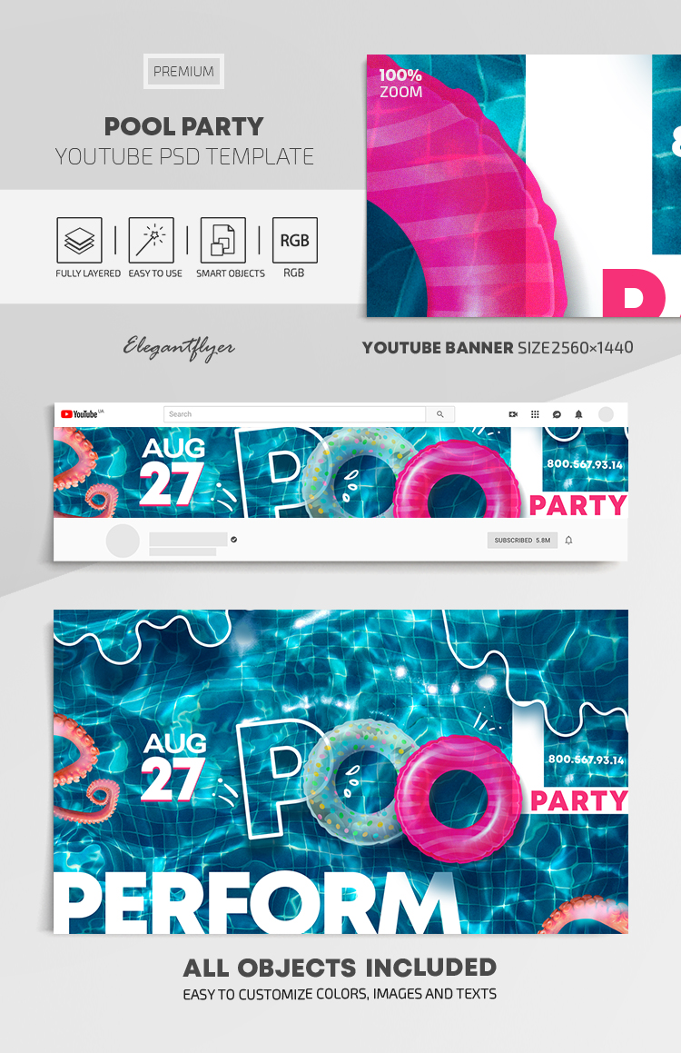 Pool Party – Youtube Channel banner PSD Template