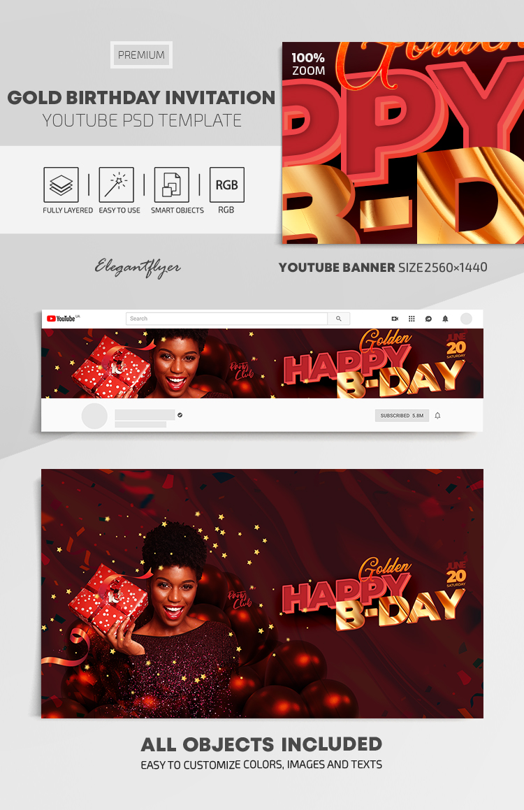 Gold Birthday Invitation – Youtube Channel banner PSD Template