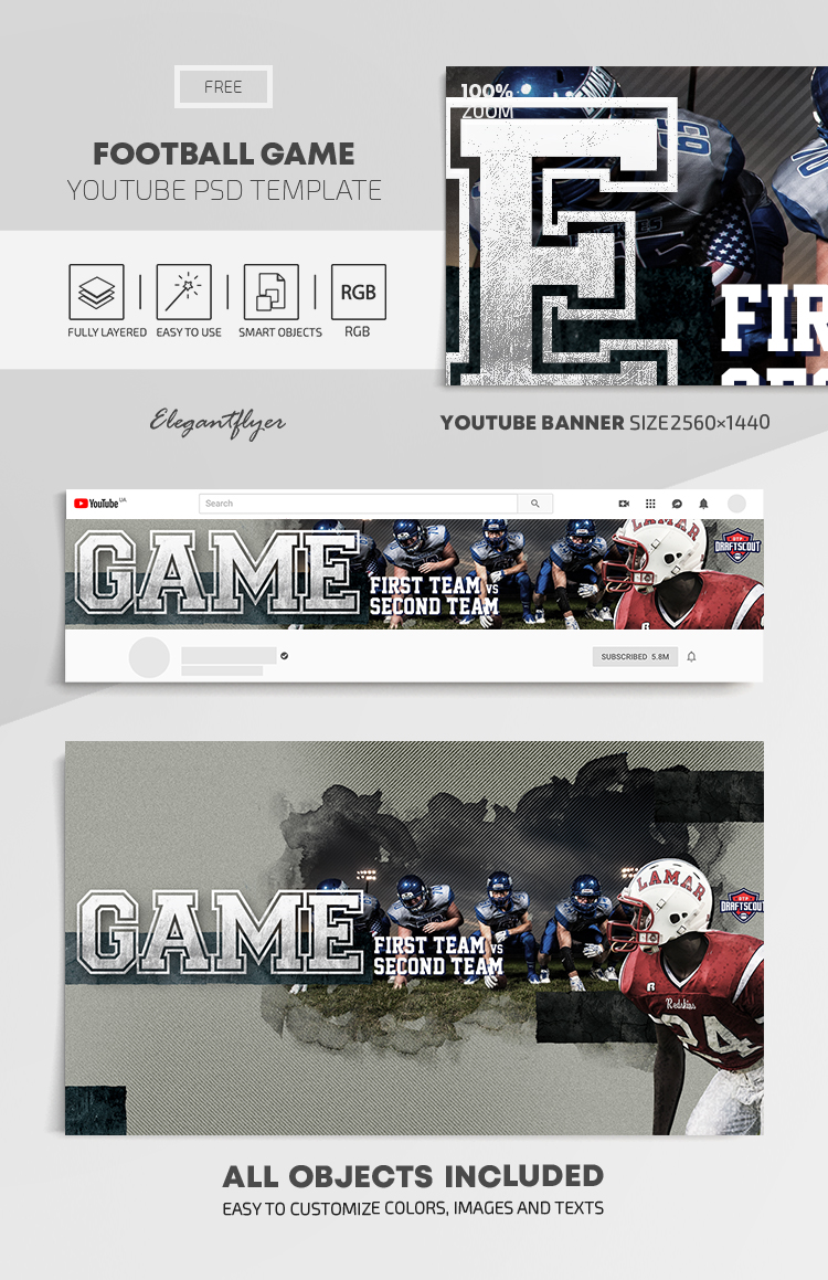 Football Game – Free Youtube Channel banner PSD Template