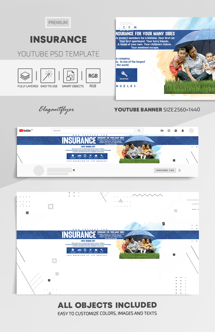 Insurance – Youtube Channel banner PSD Template