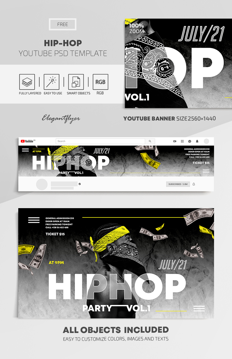 Hip Hop – Free Youtube Channel banner PSD Template