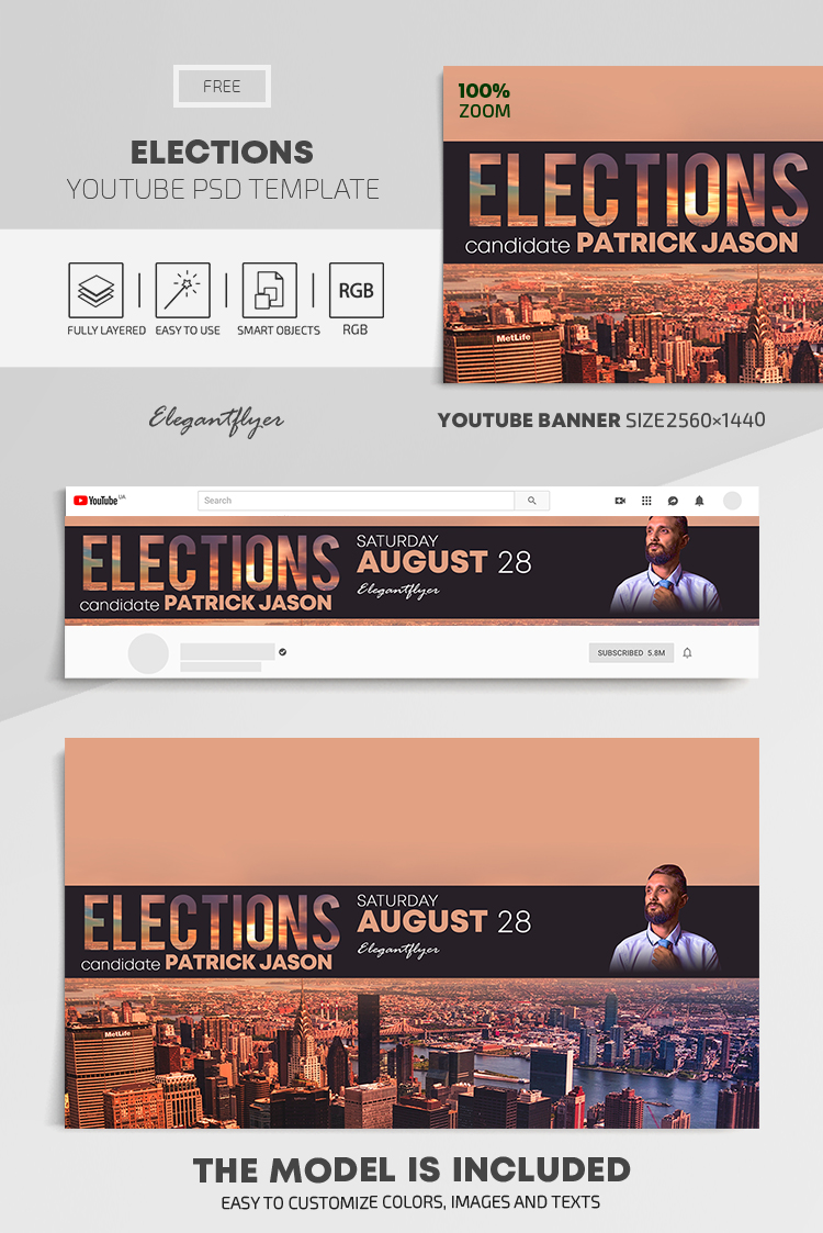 Elections – Free Youtube Channel banner PSD Template