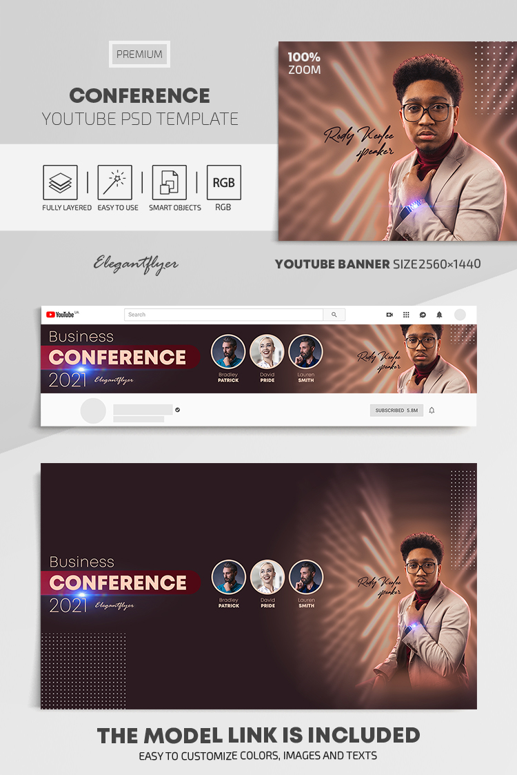 Conference – Youtube Channel banner PSD Template