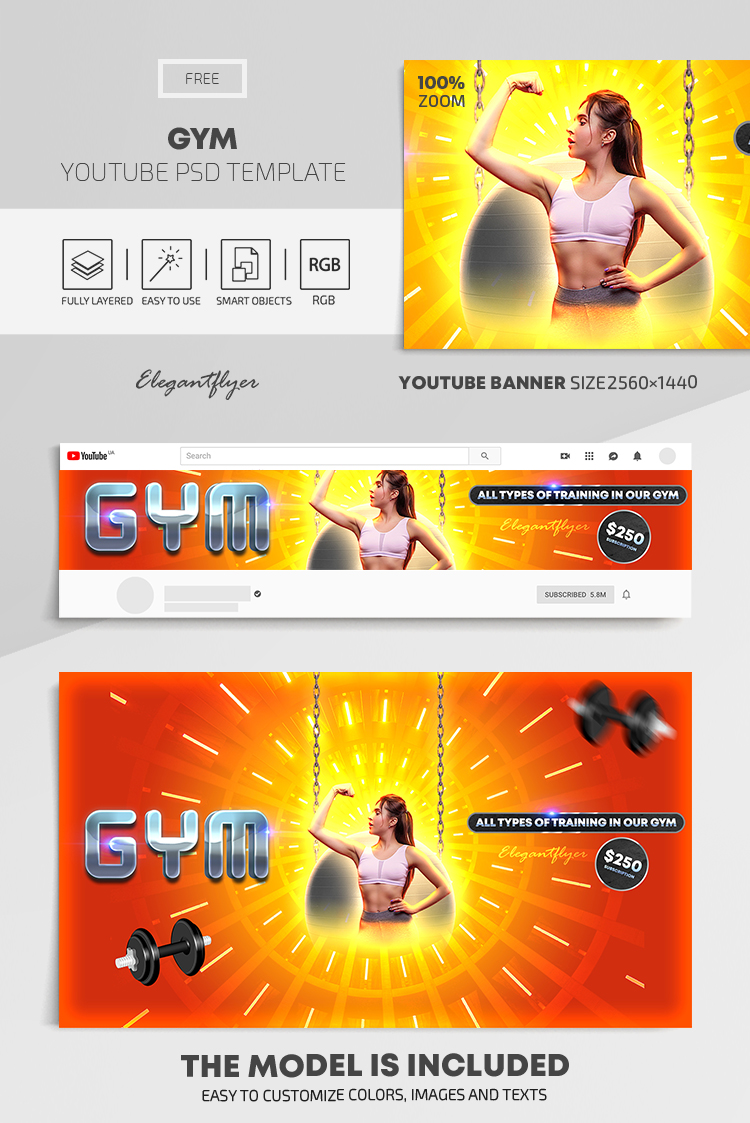 GYM – Free Youtube Channel banner PSD Template