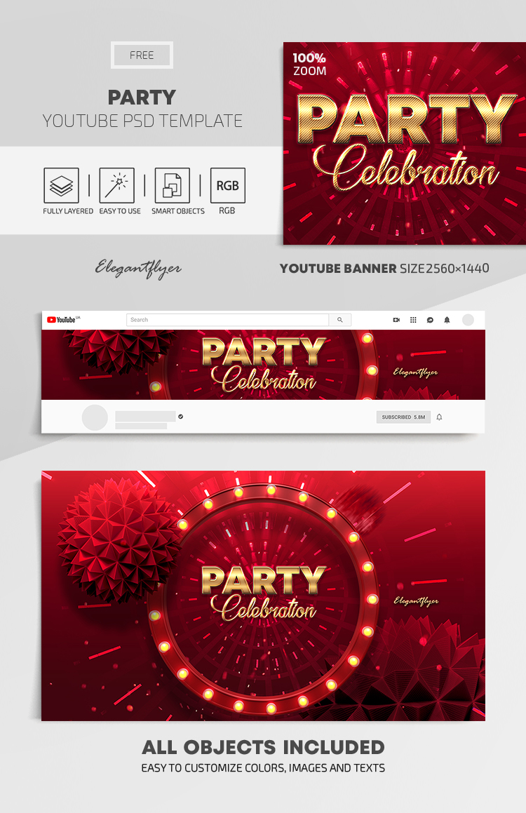 Party – Free Youtube Channel banner PSD Template