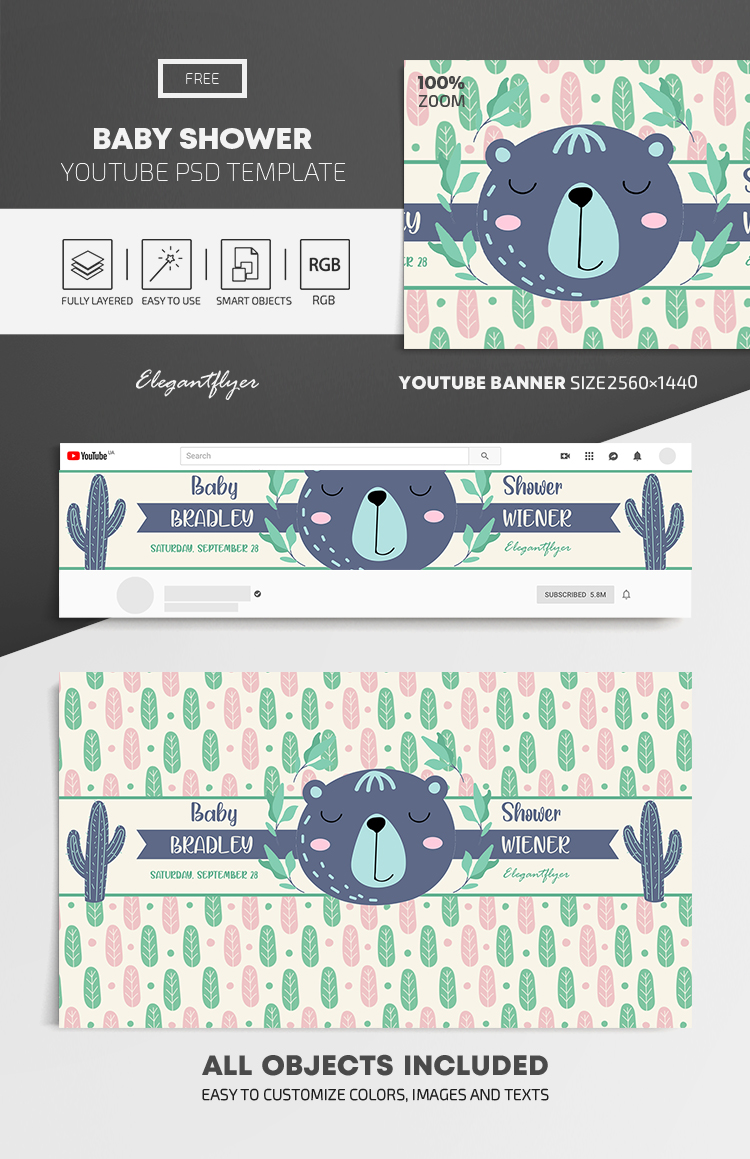 Baby Shower – Free Youtube Channel banner PSD Template