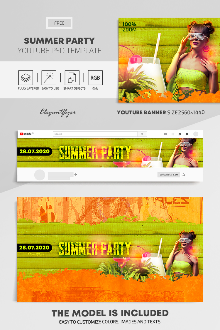 Summer Party – Free Youtube Channel banner PSD Template