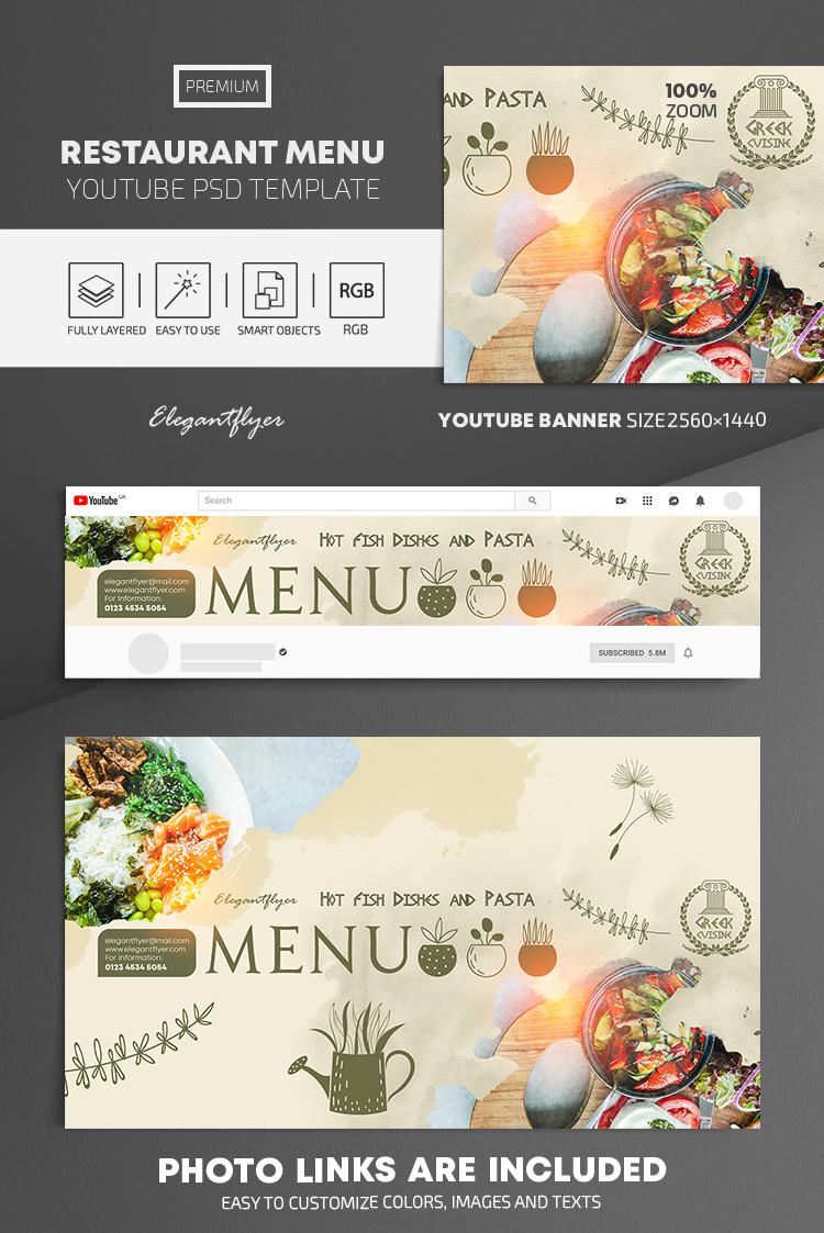 Restaurant Menu – Youtube Channel banner PSD Template