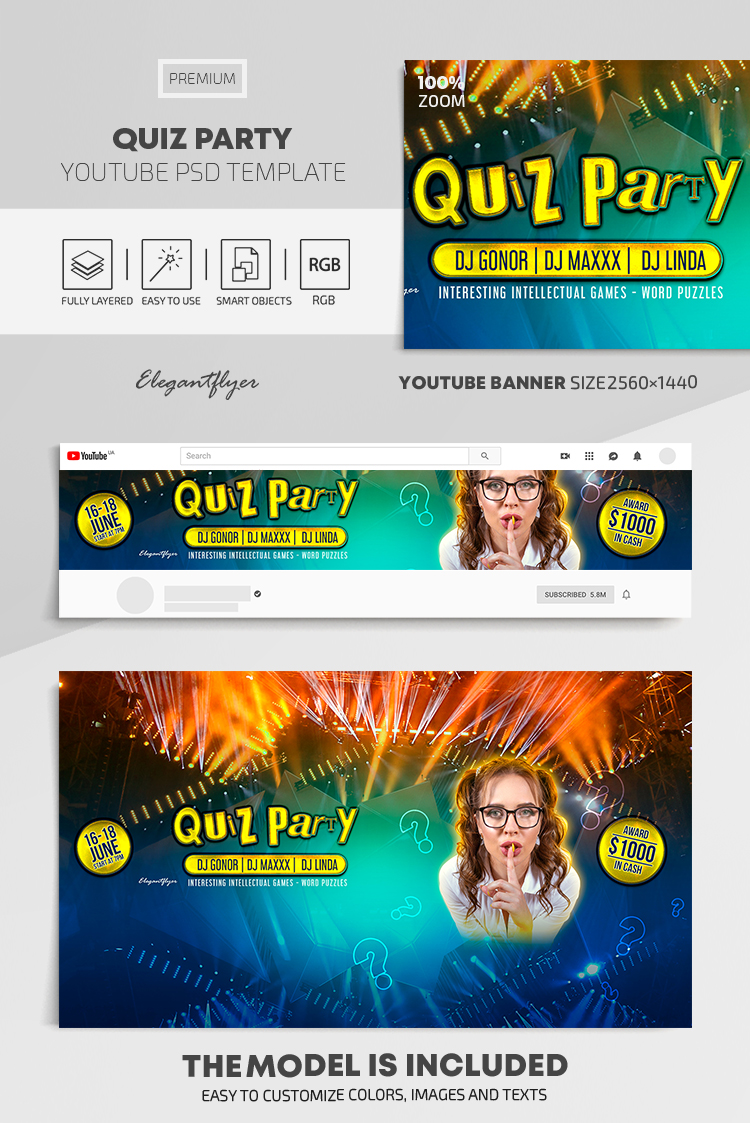 Quiz Party – Youtube Channel banner PSD Template