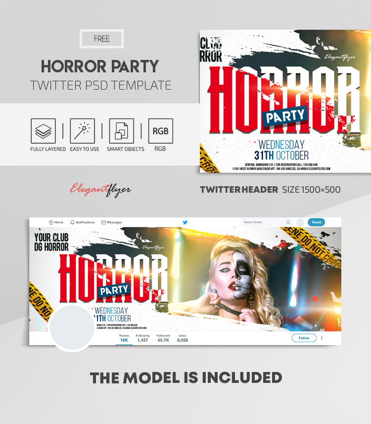 Horror Party – Free Twitter Header PSD Template