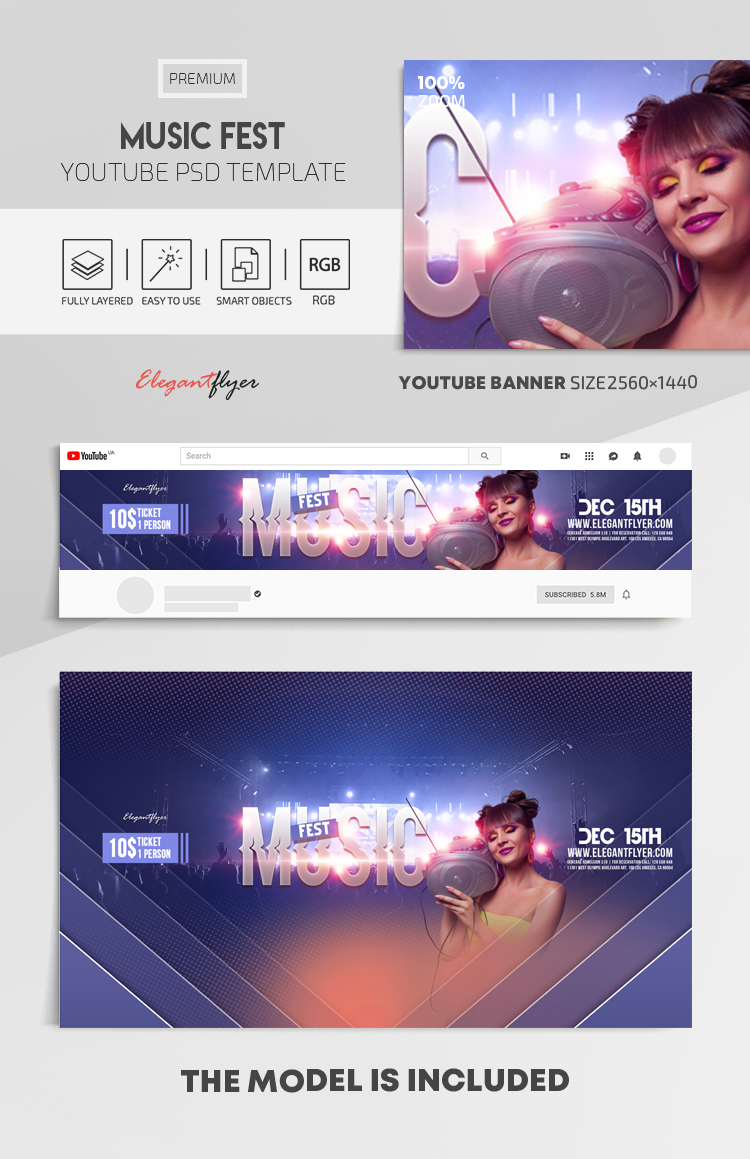 Music Fest – Youtube Channel banner PSD Template