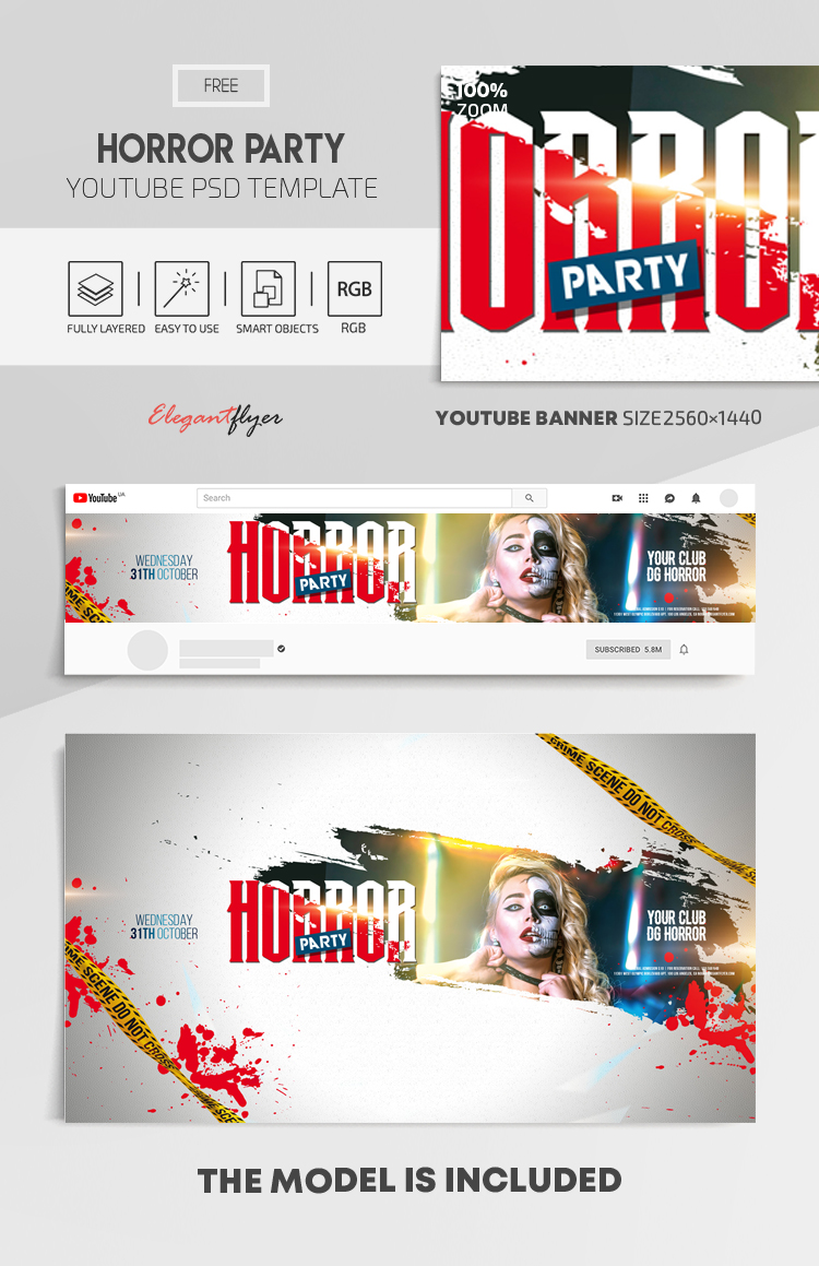 Horror Party – Free Youtube Channel banner PSD Template