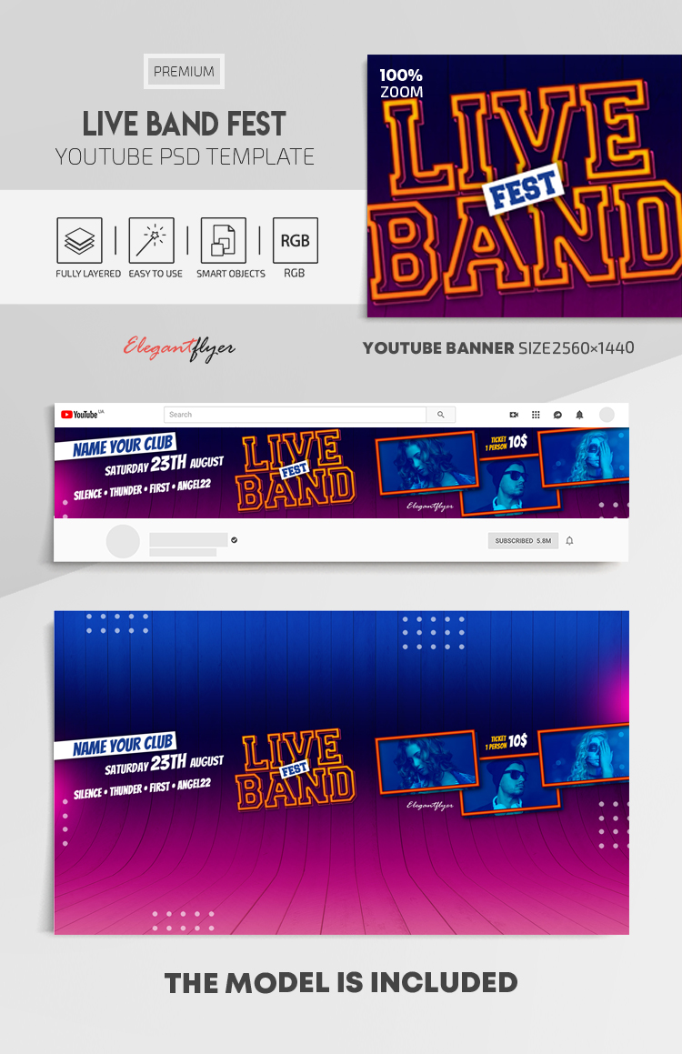 Live Band Fest – Youtube Channel banner PSD Template