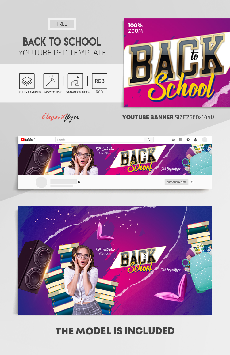 Back to School – Free Youtube Channel banner PSD Template